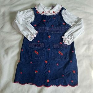 Other - 2 piece denim jumper dress with embroidered cherry